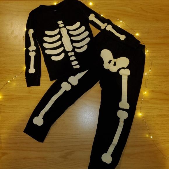 NWT Gymboree HALLOWEEN Black White Glow In The Dark Skeleton Costume 3-4 Yrs